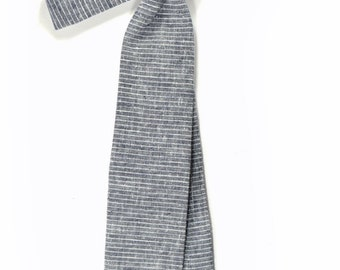blue micro striped linen necktie - Wedding Mens Tie Skinny Necktie - Laid-Back necktie