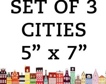 Cities 5 x 7 Set, Copenhagen, Stockholm, Amsterdam, Venice, Boston, San Francisco, Brooklyn, NYC