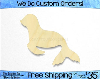 Seal Shape - Large & Small - Pick Size - Laser Cut Unfinished Wood Cutout Shapes Zoo Sea Life Marine Shore Beach Party (SO-0093)*1-26