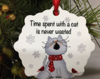 Cat Ornament, Cat Snowflake, Aluminum Snowflake Ornament, Cat Time Ornament, Stocking Stuffer, Gifts Under 10, Cat Bed Ornament, Pat Isaac