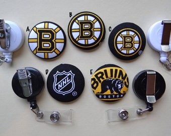 Retractable Badge Holder - Fabric Covered Button - Boston Bruins