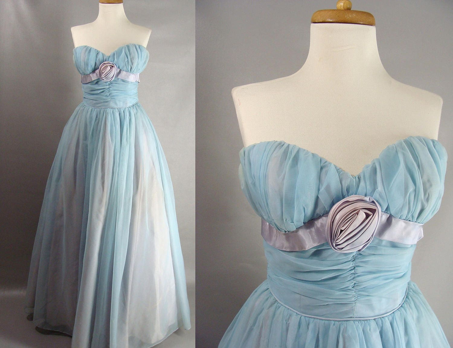 50s Prom Dress Strapless Gown Blue Prom Dress Sweetheart