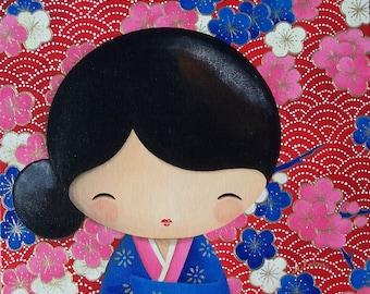 Acrylic painting on canvas Board: Mariko (kokeshi)