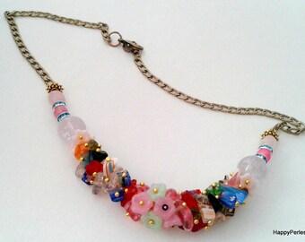 Women natural stones necklace Choker bohemian necklace ethnic necklace beaded jewelry ethnic jewelry Bohemian gemstone necklace