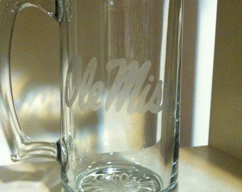 glass Etched Beer Mug (ole miss)