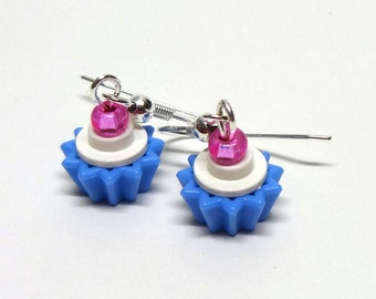 Mini White and Blue Cupcake Dangle Earrings