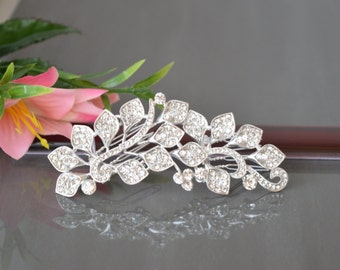 "Comb ""white petals"",Bridal hair clip,Wedding headpiece, Rhinestone hair clip, Flower and leaf headpiece,Wedding hair accessory."