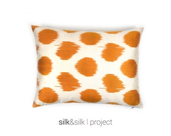 yellow white ikat pillow // polka dots, handwoven hand dyed ikat pillow, accent pillow, lumbar pillow, modern home decor // 15x22 inches