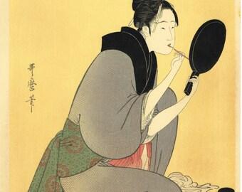 "Japanese Ukiyoe, Woodblock print, antique, Utamaro, ""Applying Lipstick"""