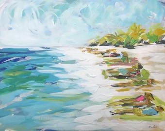 "Abstract Beach Painting original art on canvas coastal art ""Sunbathers"""