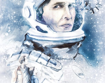 Interstellar Movie Poster illustration wall art film poster sci fi science fiction galaxy astronaut Matthew Mcconaughey fan art ANY SIZE