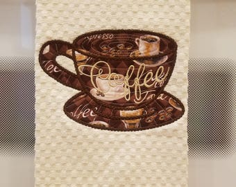 Applique Embroidered Kitchen Waffle Weave Tea Towel - Coffee Cup