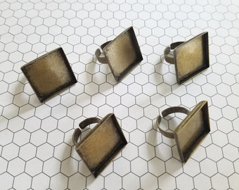 Set of 5 (five) 25mm Bronze adjustable rings ring blanks ring bezel photo jewelry