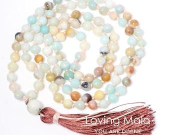 COURAGE-108 Bead Mala, Yoga Necklace, Beaded Necklace, Meditation Necklace, Tassel, Prayer necklace, Boho Necklace, Energizing Mala