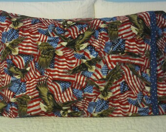 American Flags and Bald Eagle/FREEDOM Pillowcase