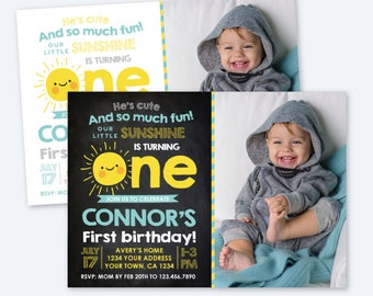 Little Sunshine Invitation with Photo, 1st Birthday Invitation, Sun Invitation, Summer Party, Personalized Printable Invite, 2 Options
