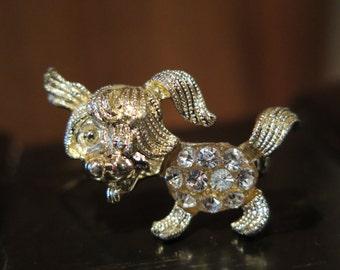 Puppy DOG Brooch Pin Terrier Vintage SCOTTIE Goldtone Clear Rhinestone Sparkles SALE