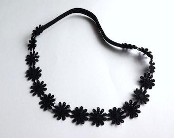 Black Daisies Lace Headband