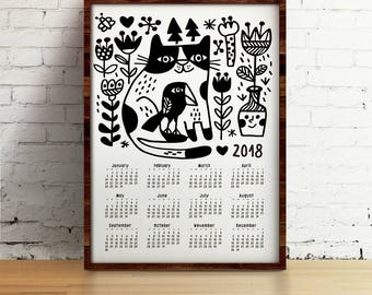 Cat Wall Calendar 2018, Cat, crow and flowers  wall calendar 2018, Funny cat calendar,  A3, A3+, A2 size