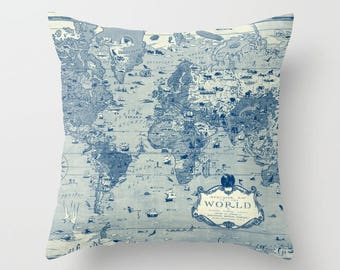 World Map Pillow - world map, travel decor, blue and cream , mercator map,  Vintage Maps, unique, colorful