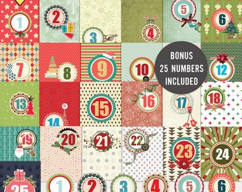 Countdown to Christmas Journal Cards - Instant Download - Printable journaling cards for Project Life and digital scrapbooking