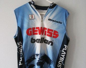 VINTAGE GEWISS BALLAN Retro Blue Cyclist Vest - Size M