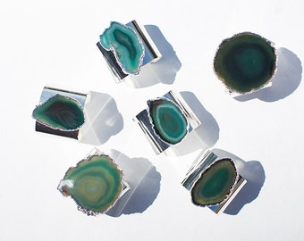 Fashion trend, Gift,  Sterling Silver Green Agate Bracelet - Silver Agate Cuff