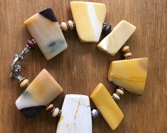 "Eqyptian Splendor - Mookaite & Balinese Silver Bracelet 7 1/2"" Hand-Crafted"