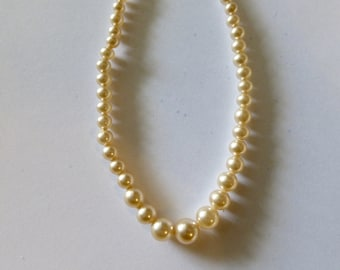 "Vintage Glass Pearl Necklace - Cream Graduated Glass Beads  3-8mm, 16"" Length"