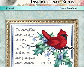 Inspirational Birds Cardinal Counted Cross Stitch Pattern