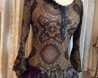 Brown Gypsy Top, fancy bell sleeves, lace hemline, womens altered boho shirt, gypsy clothes, renaissance clothes, XS