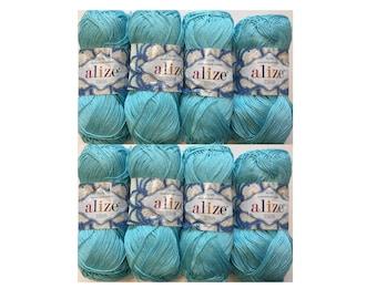 100% Mercerized cotton yarn ALIZE MISS 8 skn 400gr/14 oz, 2240 m/2440 yards  Yarn knitting Crochet thread