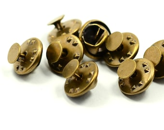 40 Pieces Antique Brass 6 mm Glue Pad Tie Tacks Findings