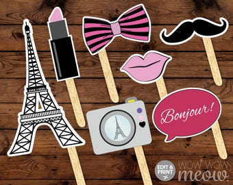 PARIS Photo Props INSTANT DOWNLOAD Birthday Party Fun Display Take Snaps Moustache Printable Games Booth Bowtie French Beret Hat Tash Booth