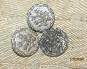 "Set of 3 5/8"" Signed Depose Shank Buttons- Depose Paris France Ornate Metal Buttons with Floral Flowers or Branches"