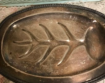 Vintage Silver Plated Oval Footed Serving Tray Vanity Rustic Tarnished  Jewelry Tray Country Cottage Serving Tray