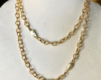 "Gold and Pear Necklace, Link Chain Pearl Necklace , 22K Gold Plated, 44"" Long"