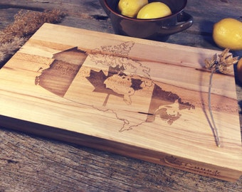 Maple Canuck Cutting Board Laser Engraved With Map of Canada
