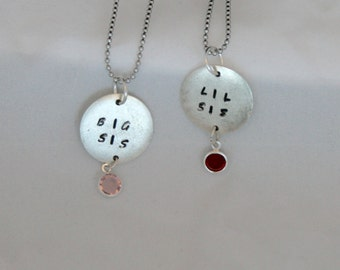 Lil Sister/Big Sister Stamped Disk (20.6mm Dia x 1.2mm) with Birthstone