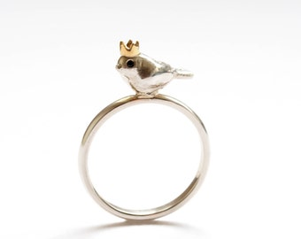 Birdking Ring, Bird Ring, Handmade Sterling Silver, Yellow Gold Crown, Black Diamond Eyes, Bird Lover, Bird Jewellery, Brighton uk