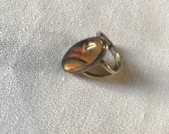 Vintage Silver and poflished Stone Ring