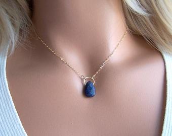 Lapis Lazuli  Pendant Necklace, Lapis and Gold Necklace, Blue Gold Necklace, Dark Blue Stone, Healing Gemstone Jewelry, Mothers Day Gift