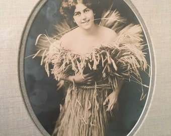 1920 Original Silver Print Photograph girl in wheat sheaf.