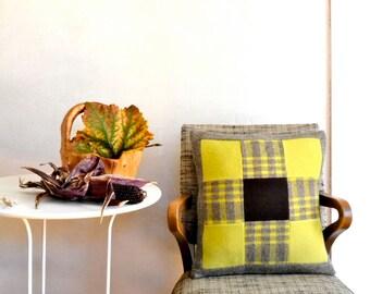 Wool Pillow Case Patchwork Quilt Design Chartreuse & Brown 9 Patch Plaid