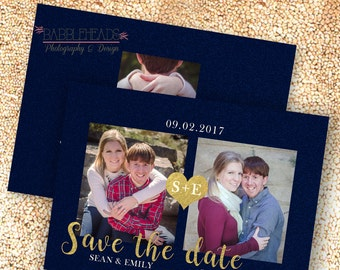 Navy and Gold sparkly bling Photo Save the Date