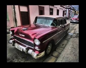 Vintage Pink Car Photograph