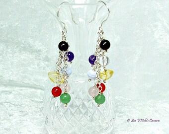 Cluster Earrings | Chakra Earrings | Chakra Jewellery For Women | Boho Earrings | Colourful Earrings |  Chakra Colours Sterling Silver A0426