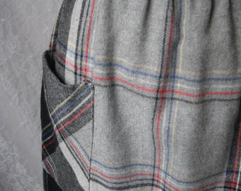 Plaid Skirt with Pockets Gray Red Blue Yellow XS S M