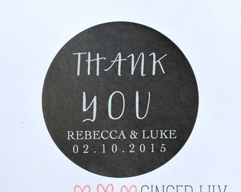 Modern THANK YOU Favour Stickers - Personalised - White Print