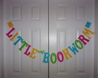 LITTLE BOOKWORM Letter Banner - Hot Pink, Turquoise Blue, Light Green & Yellow - Cardstock Paper - Girl - Story Book - Birthday Party